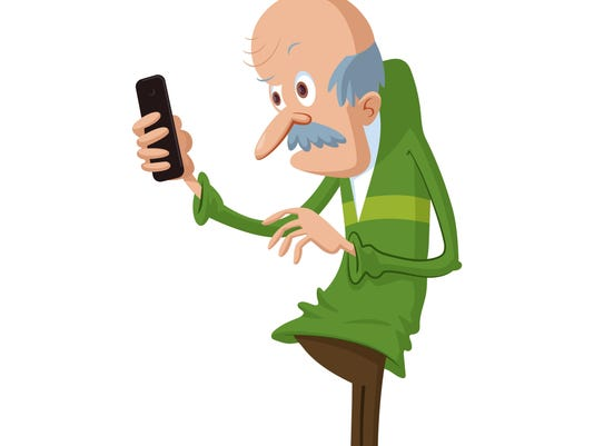 elderly man with smartphone