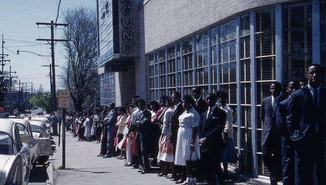 Southern University students protest at a drugstore that would not serve blacks at the lunch counter.