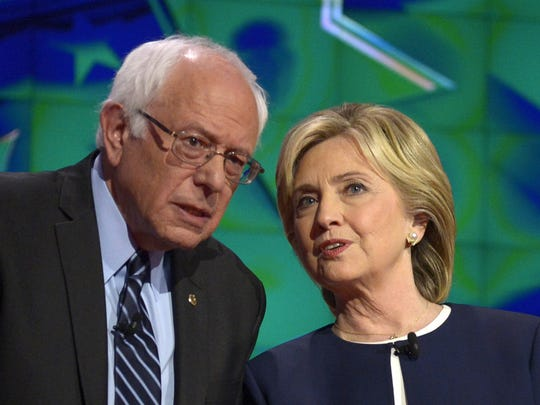 Presidential candidates Bernie Sanders and Hillary