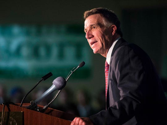 Lt. Gov' Phil Scott announces his candidacy for governor in South Burlington on Tuesday.