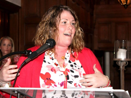 Cardiac arrest survivor Erin Smith of Lebanon shares her story at the 2016 Lebanon Go Red for Women Luncheon at Brasenhill Mansion in Lebanon.