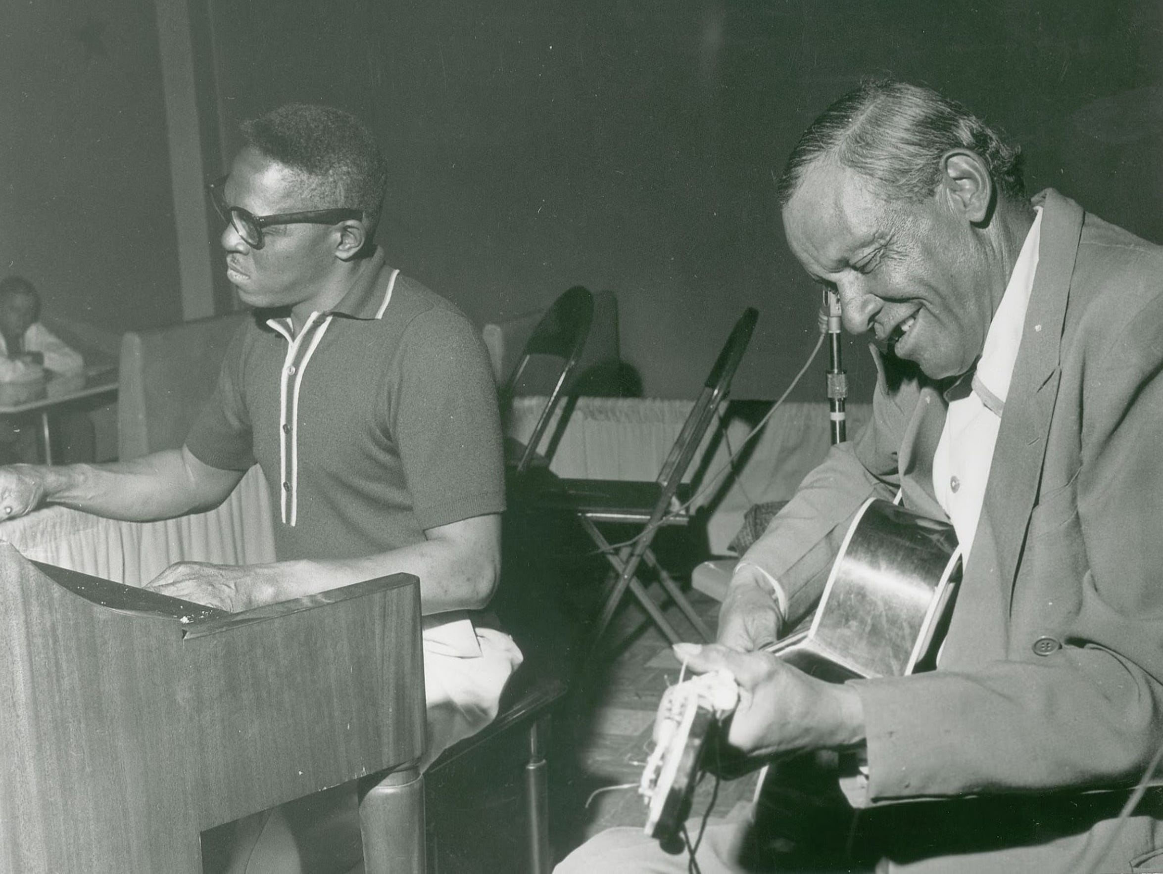 Scrapper Blackwell, right, is seen with keyboard player