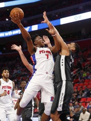 Pistons forward Stanley Johnson (7) had a season-high