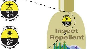 A graphic shows the type of labeling that will be added to insect repellent bottles and sprays.