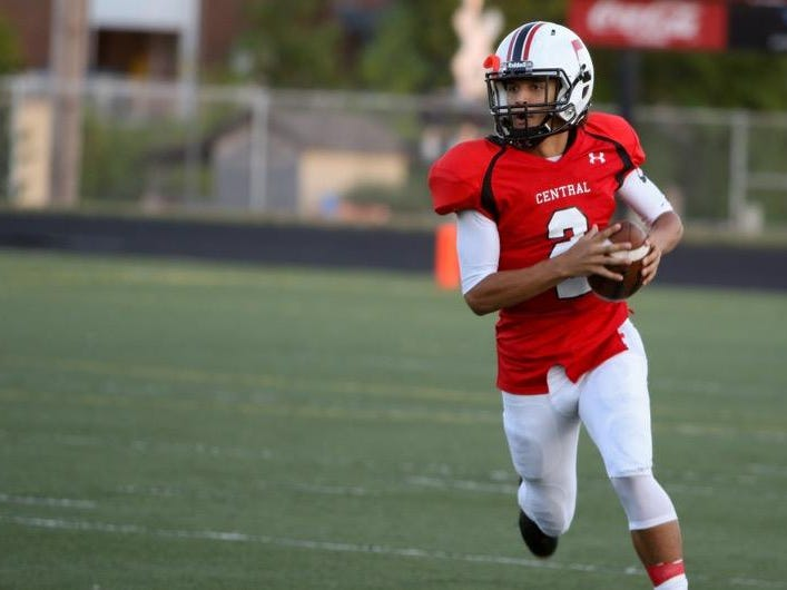 Central High School quarterback Quintin Batson looks for an open receiver downfield during the 2015 homecoming game against Buffalo High School.