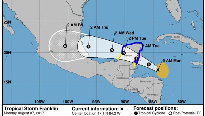Tropical Storm Franklin became the 2017 hurricane season's sixth-named storm lateSunday, forming in the Caribbean Sea.
