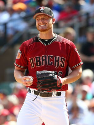 Arizona Diamondbacks Shelby Miller grimaces after throwing to the Los Angeles Angles in the 2nd inning during spring training action on Mar. 27, 2017 at Salt River Fields in Scottsdale, Ariz.