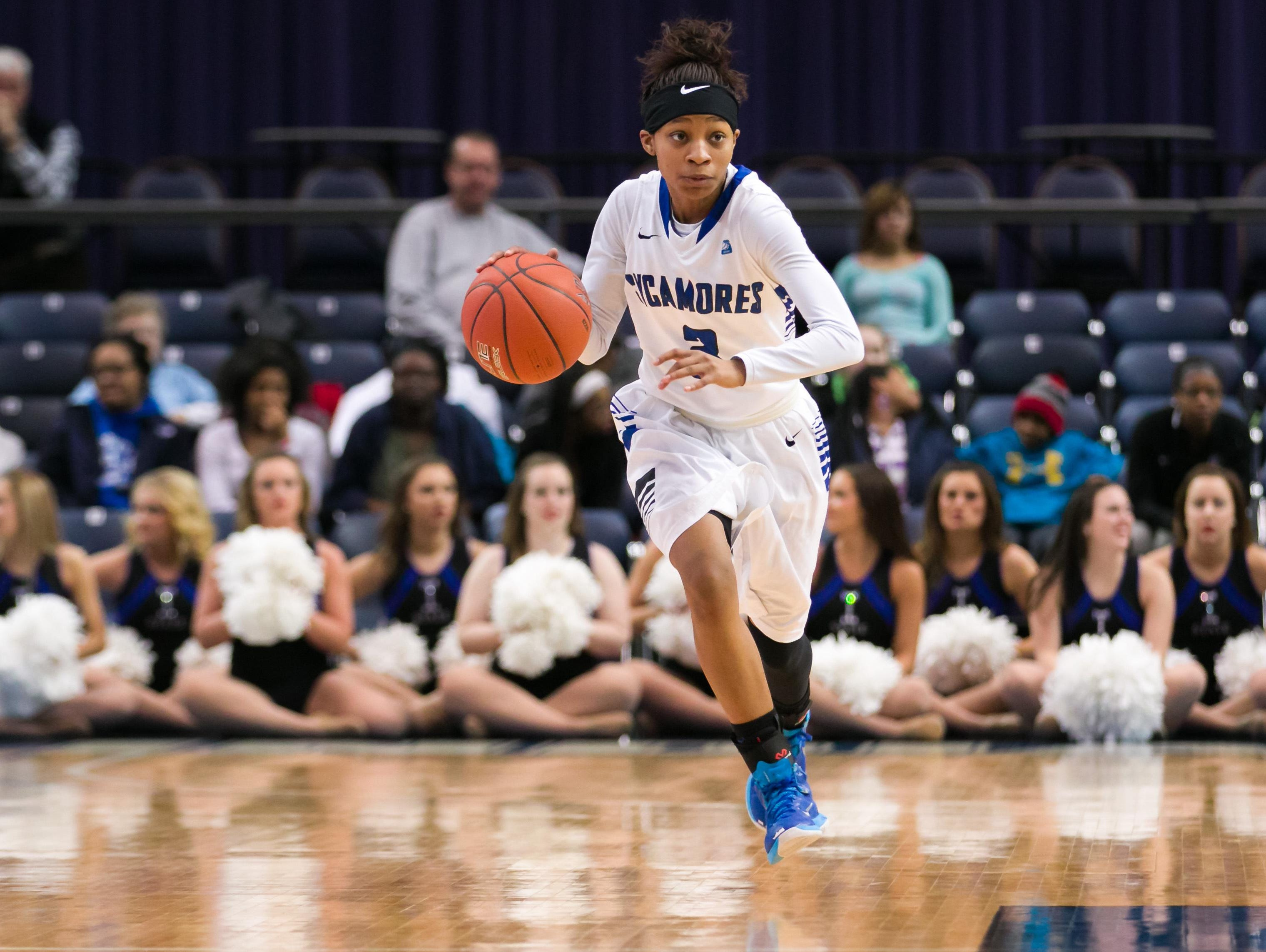 Sycamore grad Alexis Newbolt handles the ball for the Indiana State Sycamores now.