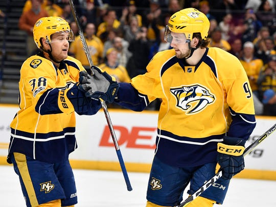 Predators forwards Viktor Arvidsson and Filip Forsberg could become the third pair of 30-goal scorers in franchise history.