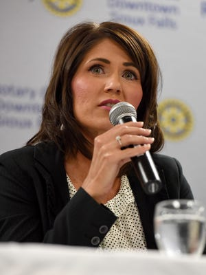 U.S. House candidate Kristi Noem (Republican) debates with Paula Hawks (Democrat) during the Rotary Club Downtown Sioux Falls monthly meeting on Monday at the Holiday Inn City Centre.