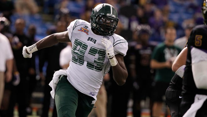 Dec 23, 2013; St. Petersburg, FL, USA;Ohio Bobcats defensive lineman Tarell Basham (93) rushes against the East Carolina Pirates  during the second half at the 2013 Beef O Bradys Bowl at Tropicana Field. Eastern Carolina Pirates defeated the Ohio Bobcats 37-20. Mandatory Credit: Kim Klement-USA TODAY Sports