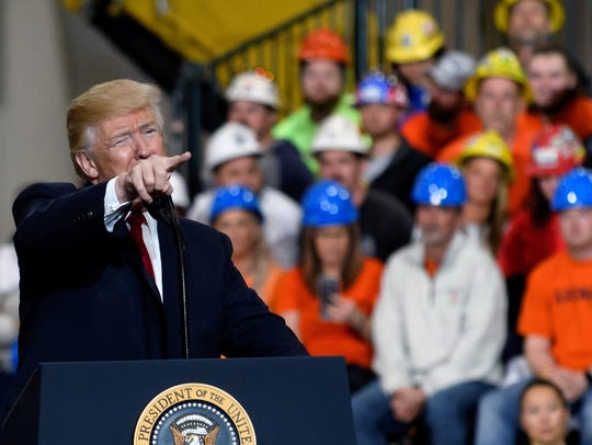 President Trump speaks to workers at a campaign-style rally March 29, 2018, in Richfield, Ohio.