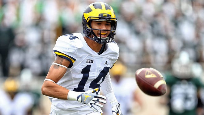 Former Michigan Wolverines wide receiver Drake Harris (14) announced he will play for Western Michigan as a graduate transfer in 2018.