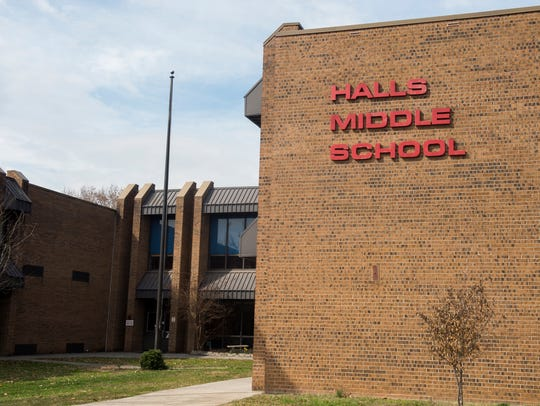 """Halls Middle School is among""""Additional Targeted Support and Improvement Schools,"""" which have """"the lowest performance across student groups using 2017-18 data,"""" according to the Tennessee Department of Education's website."""