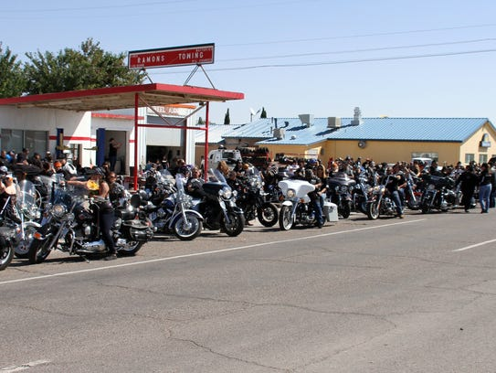 Over 300 motorcycles lined the street at Ramon's Towing