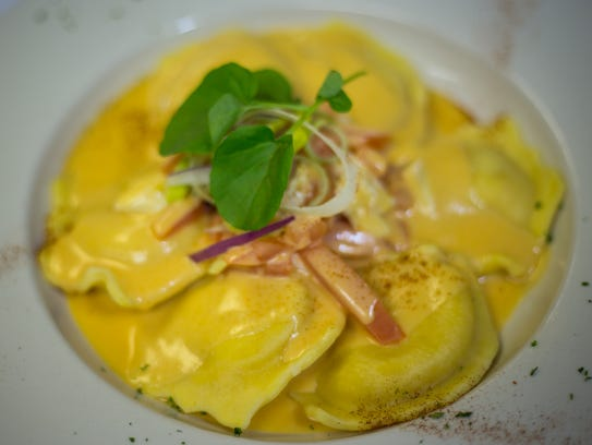 Lobster ravioli in a cardinale sauce from Barresi's