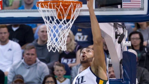 Utah Jazz center Rudy Gobert (27) shoots the ball during