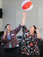 Zoey Tarkeshian and Candace Tarkeshian hit a beach ball during Sunday Assembly in Salt Lake City on Sunday, Feb. 11, 2018. Sunday Assembly is a nonprofit group designed to serve atheists, agnostics, humanists and other religiously affiliated adults in Utah.