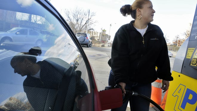 The price of gas in Worcester was averaging $2.06 on Monday.