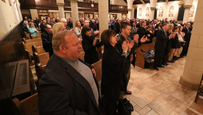 A large crowd turned out for a Memorial Mass for Eastchester Police Officer Michael Frey at Immaculate Conception Church in Tuckahoe March 21, 2016. Frey was shot and killed 20 years ago.