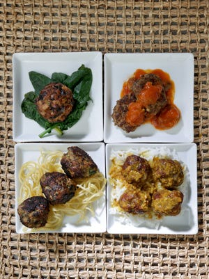 Meatballs: one, Lion's Head (Chinese Meatball); two, Beef boulettes with FinanciËre Sauce; three, Chicken Meatballs and four, Meatballs in Almond Sauce are four new takes on a tried-and-true favorite.