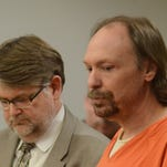 Ronald Moser with his attorney, Niels Magnusson at his sentencing on child rape charges Monday in Calhoun County Circuit Court.