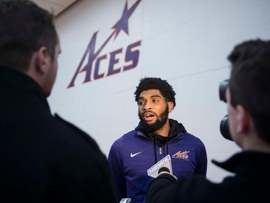 University of Evansville basketball player K.J. Riley