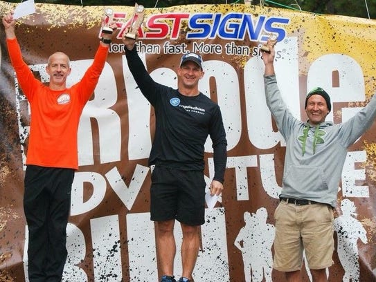 The Top 3 finishers from the Off Rhode Adventure Run,