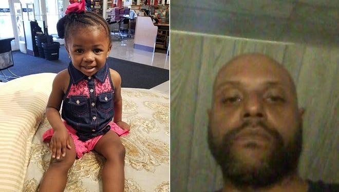 2-year-old Sondra Renee, left, and the suspect, Grady Lamar Barrett.