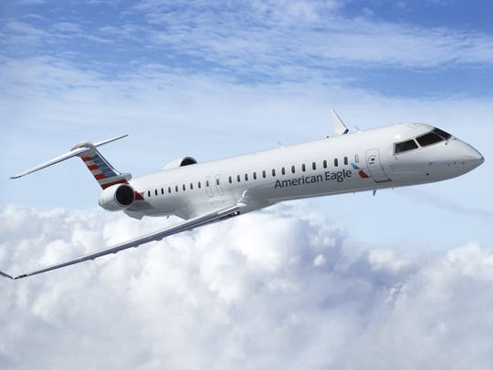 An American Airlines Bombardier CRJ-900 regional jet (like the one seen here) was diverted to a Tennessee airport Monday night.