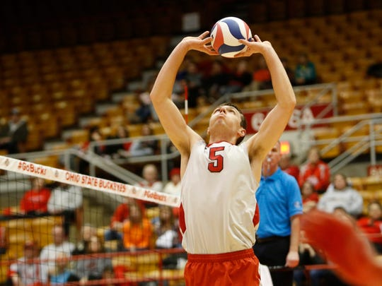 Ohio State's Christy Blough sets against UC Irvine