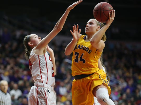 Johnston's Jennah Johnson shoots a lay-up during the Class 5A Girls' state basketball semifinal game between Johnston and Iowa City High on Thursday, March 1, 2018, in Wells Fargo Arena. City High won the game, 58-52, to advance to the state final.