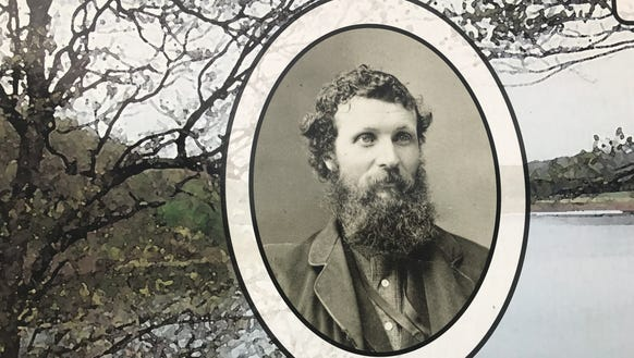 This photo of John Muir is displayed on a kiosk at