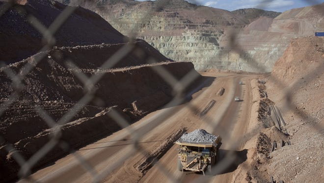 A haul truck works in Morenci Mine.
