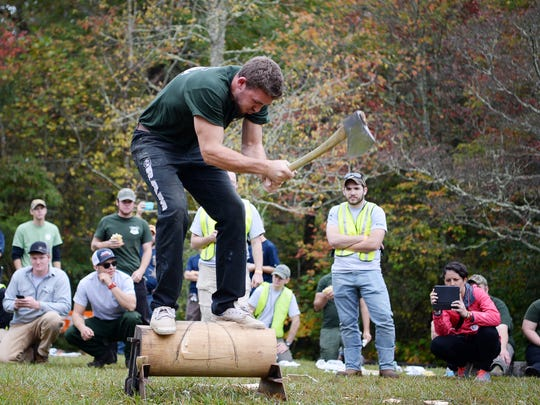 Ben Knicely competes for the Haywood Community College Lumberjack Team in the alumni competition at the 2017 John G. Palmer Intercollegiate Woodsmen's Meet and Forest Festival Day October 7, 2017.