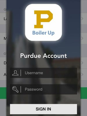 Purdue University's new smart phone application was created by students and could be available by the end of March. This is a screen shot of the app's log in page.