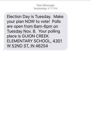 A text received by Indiana voter Jenna Kienle.
