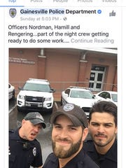 Officers from the Gainesville, Fla., police department are attracting lots of attention for their fetching photos showing them responding to Irma.