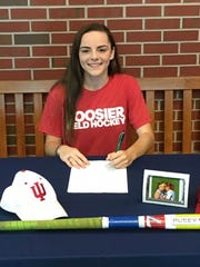 Peyton Becker signs her NLI to play college field hockey at Indiana University in 2018.