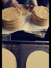 Fresh tortillas are prepared at La Hacienda Tortilla