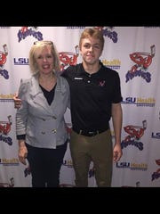 Julie Jaunich (left) and her son, Jack, who plays for