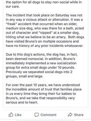Screenshots of Facebook posts show a post from Bruno's