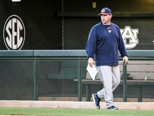 Auburn head coach Butch Thompson leads a preseason
