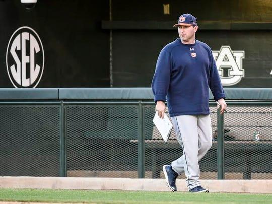 Auburn head coach Butch Thompson leads a preseason