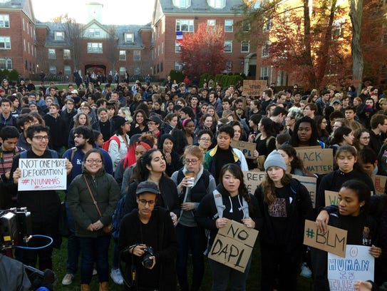 Students protest on the Brown University campus, Wednesday,