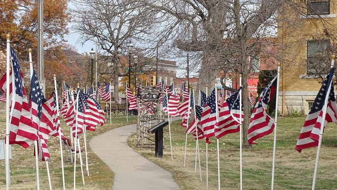 More than 700 U.S. flags adorn City Park and the Franklin County Memorial Wall. There will be a short ceremony to honor the veterans 11 a.m. Saturday at the Memorial. [PHOTO BY GREG MAST/THE OTTAWA HERALD].
