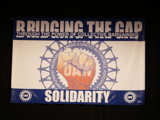 """Bridging the Gap"" is one of the themes of the  2015 Special Bargaining Convention at Cobo Center in downtown Detroit Tuesday, March 24, 2015."