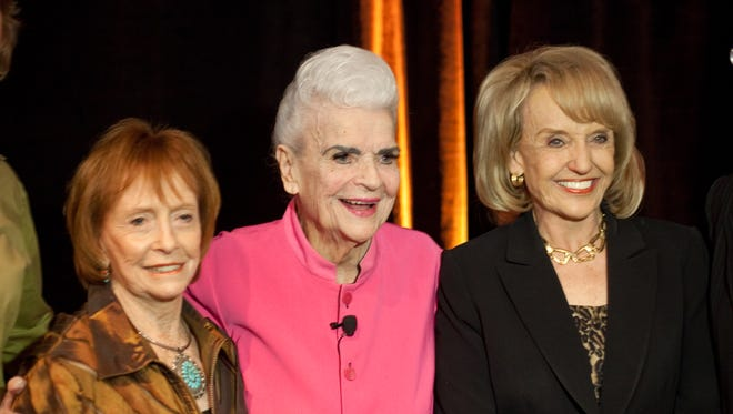 Arizona has been a model for female leadership. Three of its gover- nors are Jane Dee Hull (left), Rose Mofford and Jan Brewer. The Republic 0411110110ch azm-governors -- PHOENIX, AZ -- 04/14/2011 -- Jane Hull, Rose Mofford and Jan Brewer pose for a portrait during A Conversation With Arizona's Women Governors at the Arizona Biltmore in Phoenix, AZ on Thursday, April 14, 2011. Former Governor Rose Mofford was honored by AZ Magazine and the ASU Alumni Association as the Arizona Woman of the Year. Photo by Michael McNamara / The Republic