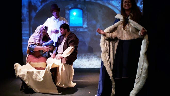 """Tammy Carpenter, Dave Dillard, Patrick Hallisey and Jena Reynolds perform in Enopion Theatre Company's """"The Day after A Christmas Carol."""" The Bible theater troupe is holding an outdoor fundraising event titled Into the Woods … Onto the Path in late September and October."""