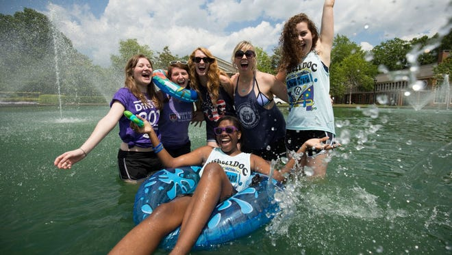 Furman students hopped in the pool on Dins Day, April 26.
